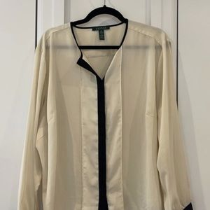 Ralph Lauren cream and black blouse long sleeve